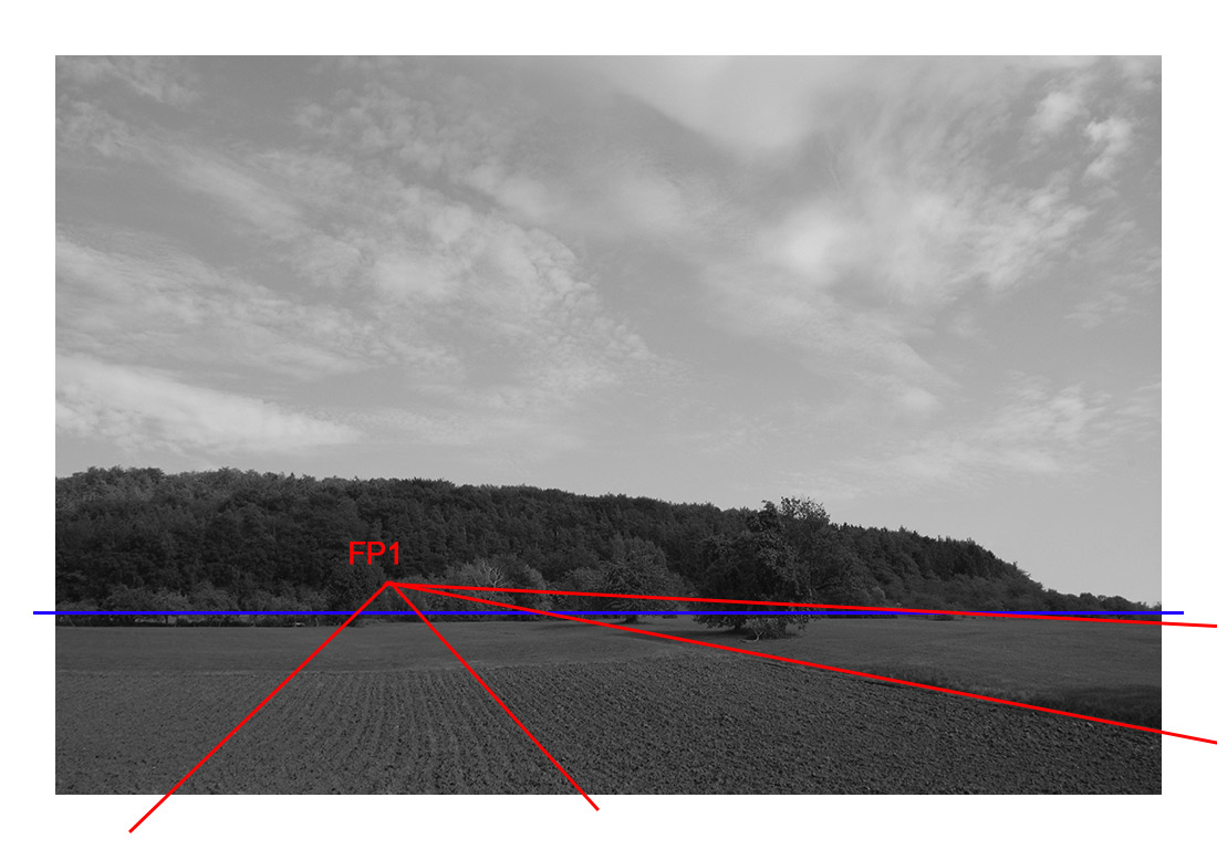 fluchtpunktlinien und perspektivlinie liegt hier auf der horizontlinie