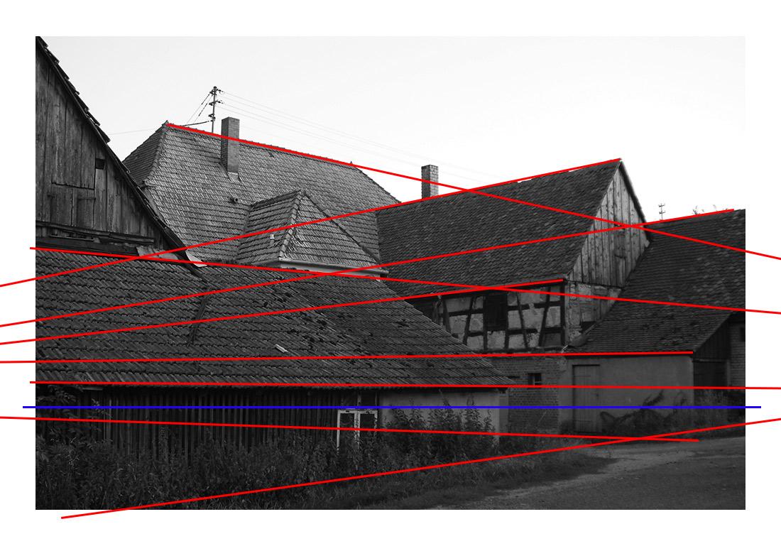 fluchtpunktlinien und perspektivlinien in der fotografie mit 2 fluchtpunkten ausserhalb des bildes